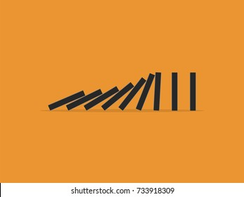 Falling dominoes. Flat design style. Vector