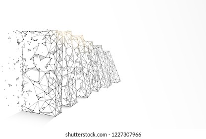 Falling dominoes form lines, triangles and particle style design. Illustration vector