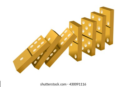 Falling dominoes gold. Gold Icon game of dominoes. icon vector for web. Push domino.