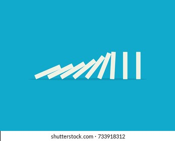 Falling dominoes on a blue background. Flat design style