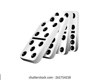 Falling dominoes, vector illustration, isolated white background