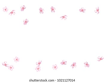 Falling Down Cherry Blossom, Realistic Vector Background. Japanese Sakura Modern Romantic Illustration. Wedding Decoration, Flying Pink Cherry Blossom, Love Magic Design. Showering Blooming Sakura.
