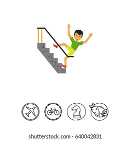 Falling Down Stairs Flat Icon