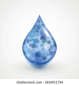 Falling drop, pollutted water research icon isolated on white background. Laboratory microbiology water test for bacterium, toxic wastes. Filtration or deficiency quality issue, diseases spreading.
