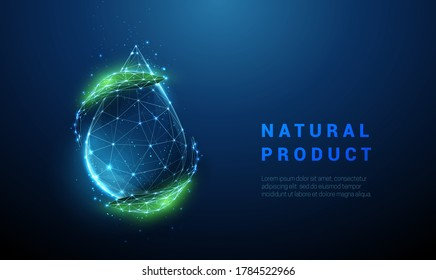 Falling drop of water with green leafs. Low poly style design. Abstract geometric background. Wireframe light connection structure. Modern 3d graphic ecological concept. Isolated vector illustration.