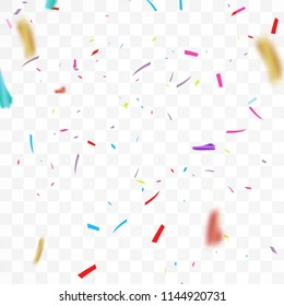 Falling Festive Colorful bright Confetti And Ribbon isolated on Transparent background. vector illustration