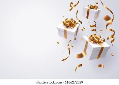 Falling gift box, Happy new year celebrate, vector art and illustration.