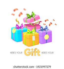 Falling gift boxes. 3D gifts for special offer, surprise, win, birthday, wedding and baby shower. Colorful desing isolated on white.