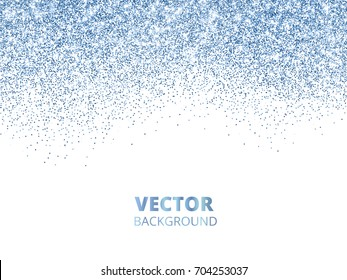 Falling glitter confetti. Blue vector dust, explosion isolated on white. Sparkling glitter border, festive frame. Great for wedding invitations, party posters, Christmas and birthday cards.