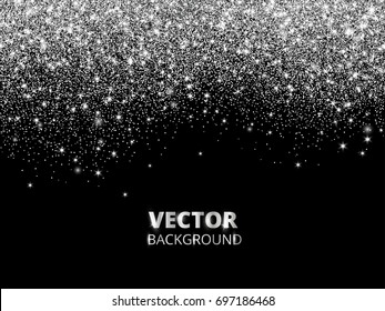 Falling glitter confetti. Vector silver dust, explosion on black background. Sparkling glitter border, festive frame. Great for wedding invitations, party posters, Christmas and birthday cards.