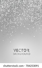 Falling glitter confetti. Vector silver dust, explosion on grey background. Sparkling glitter border, festive frame. Great for wedding invitations, party posters, Christmas and birthday cards.