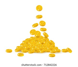 Falling gold Chinese yuan or Japanese yen cartoon isolated. Falling gold of yuan or yen in a cartoon style isolated. Dropping of gold pieces in the form of vector illustrations