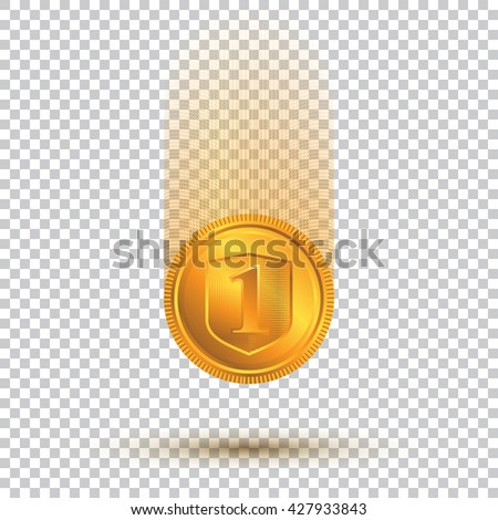 Falling Gold Coin On A Transparent Background