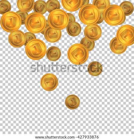 Falling Gold Coins On A Transparent Background Placer