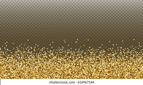 Falling gold glitter effect for sale, gift, invite, vip luxury rich card design. Vector yellow confetti  border. Golden tinsel texture isolated on transparent background