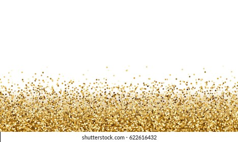 Falling gold glitter effect for sale, gift, invite, vip luxury rich card design. Vector yellow confetti  border. Golden tinsel texture isolated on white background