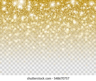 Falling gold glitter particles and lights effect for luxury greeting card. Vector glowing golden texture with confetti for new year design. Star dust sparks in explosion on transparent background