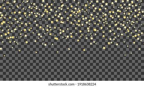Falling gold stars on transparent background