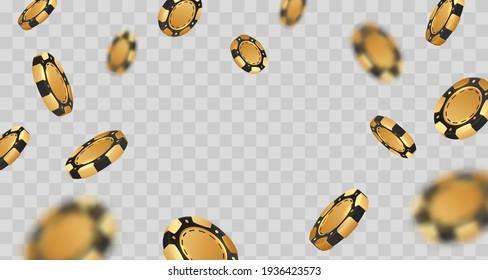 Falling golden with black poker chips, tokens on transparent background. Vector illustration for casino, game design, advertising.