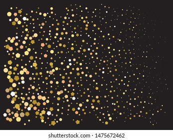Falling golden color crackers. Decorative element of your design. Vector illustration surprise. Gold festive luxury bright chaotic confetti background on black.