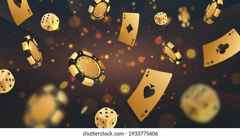 Falling golden poker chips, tokens, dices, playing cards on black background with gold lights, sparkles and bokeh. Vector illustration for casino, game design, flyer, poster, banner, web, advertising.