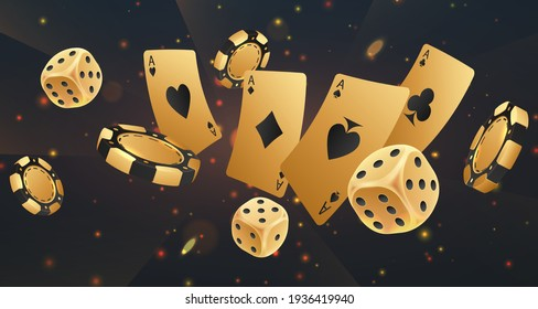 Falling golden poker chips, tokens, dices, playing cards on black background with gold lights, sparkles and bokeh. Vector illustration.
