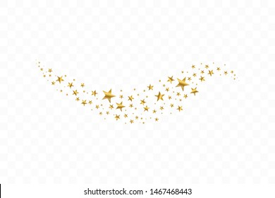 Falling golden stars. Cloud of golden stars isolated on transparent background. Vector illustration