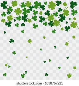 Falling green clover leaves on transparent background. Vector illustration