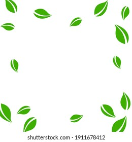 Falling green leaves. Fresh tea neat leaves flying. Spring foliage dancing on blue sky background. Adorable summer overlay template. Trending spring sale vector illustration.