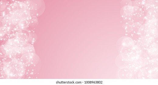 Falling hearts. Right left border on pink background. Falling hearts valentine's day flawless design. Vector illustration.