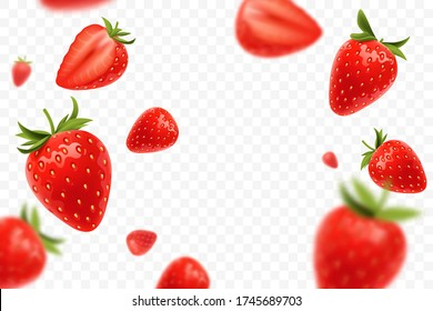 Falling juicy ripe strawberry with green leaves isolated on transparent background. Flying defocusing strawberry berries. Applicable for juice advertising. Vector illustration.