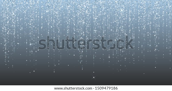 Falling in lines silver glitter confetti garlands dots rain. Sparkling glitter border, party tinsels shimmer, holiday lights background design, festive frame. Premium silver metallic garland lights.