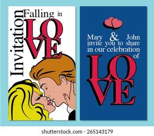 """Falling in Love"". Pop Art Wedding Cartoon card template. vector illustration Celebrating Love wedding invitation. Pop Art Kissing Couple in Love."
