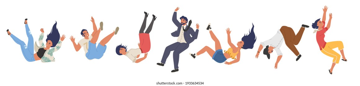 Falling male and female character set, flat vector illustration. Shocked falling down people because of stumbling, slipping, accident, injury. Slippery, danger, risk.