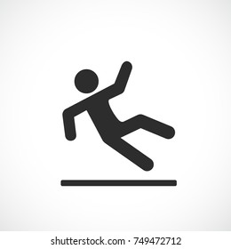 Falling man vector pictogram on white background