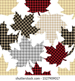 Falling maple leaves. Seamless vector pattern with botanical motifs and hounds tooth elements. Autumn textile collection. White, black, red.