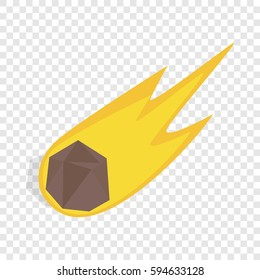 Falling meteor icon. Isometric 3d illustration of falling meteor vector icon on a transparent background