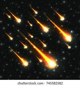 Falling meteor shower on starry sky vector illustration