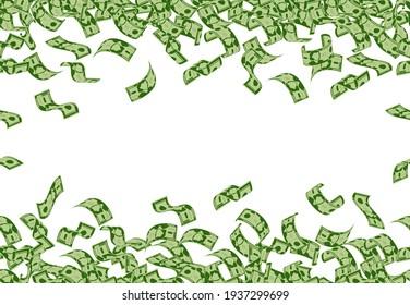 Falling money pattern. Dollar banknotes flying seamless pattern, cash money bills rain. Falling dollars bills vector background illustration