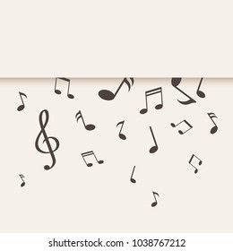 Falling music notes. Decorative paper background with falling music notes. Place for your text. Vector illustration