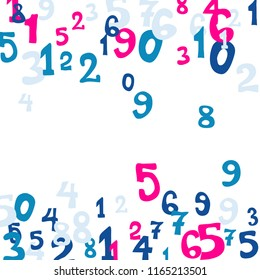 Falling numbers abstract background. Abstract background of color numbers for card or print. Pattern of randomly distributed numbers from zero to nine in color.