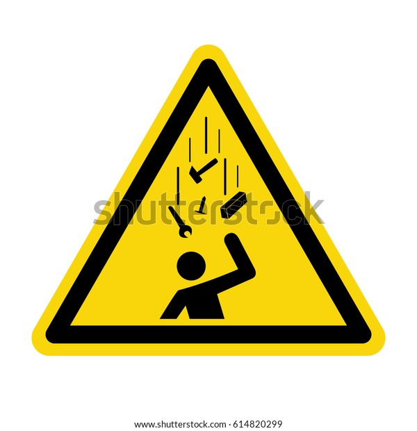 Falling objects warning sign, symbol, vector, illustration