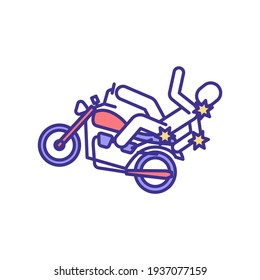 Falling off motorcycle injuries RGB color icon. Broken bones and brain trauma. Bike crash. Head, neck and elbows damage. Motorcycle accident hazards. Traffic safety. Isolated vector illustration