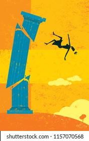 Falling off the pedestal. A retro businesswoman falling from her high pedestal.