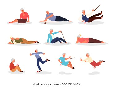 Falling old people set. Retired men and women falling down. Elderly person with cane falling. Pain and injury. Vector illustration in cartoon style