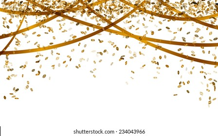 falling oval confetti and ribbons with gold color