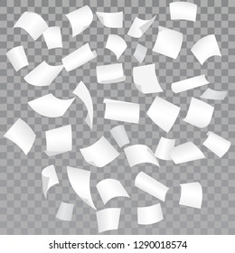 Falling paper sheets with curved corners on halftone background. Blank paper sheet Chaotic flying down. White office documents over transparent layout. Paperwork, advertisement, bureaucracy. Vector