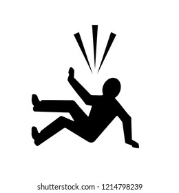 Falling person silhouette icon illustration isolated on white background