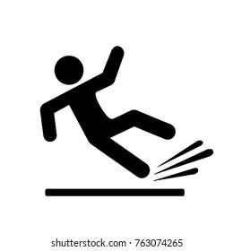 Falling person silhouette pictogram on white background