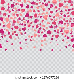 Falling pink hearts on transparent background. Vector.